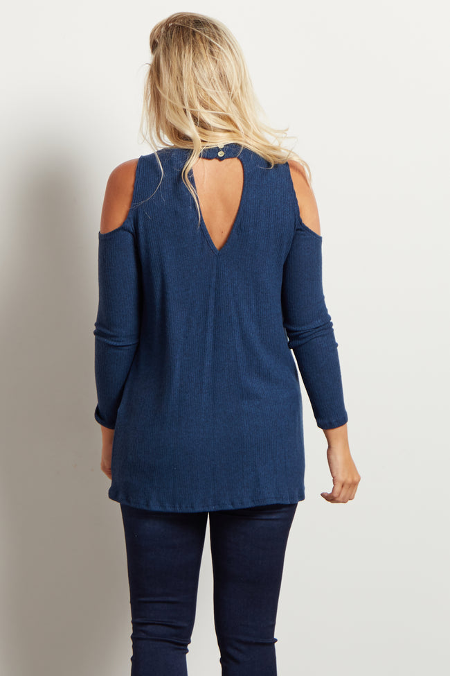 Blue Ribbed Mock Neck Cold Shoulder Knit Maternity Top