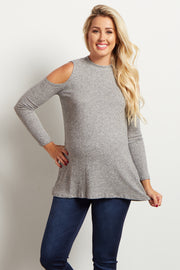 Grey Ribbed Mock Neck Cold Shoulder Knit Maternity Top