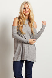Grey Ribbed Mock Neck Cold Shoulder Knit Top