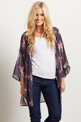 Charcoal Grey Printed Chiffon Cover Up