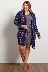 Royal Blue Tribal Print Knit Plus Cardigan