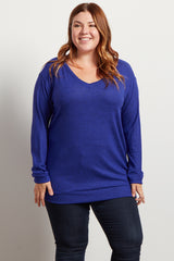 Blue Heathered Soft Knit V-Neck Plus Sweater