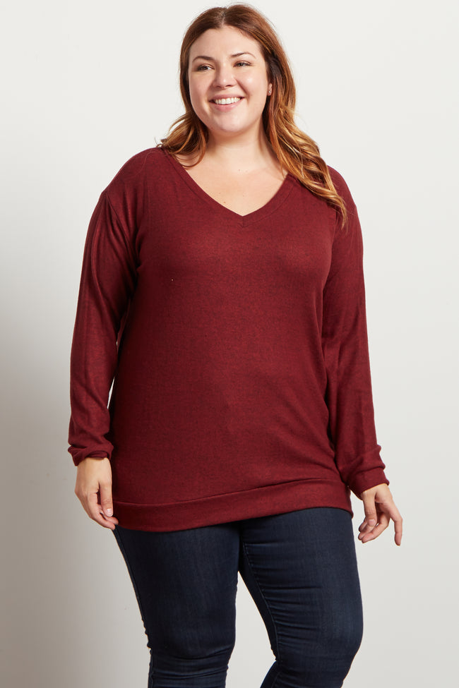 Burgundy Heathered Soft Knit V-Neck Plus Size Sweater