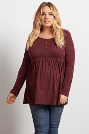 Burgundy Button Front Babydoll Plus Size Maternity Top