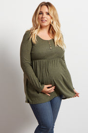 Olive Button Front Babydoll Plus Maternity Top