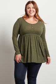 Olive Button Front Babydoll Plus Top