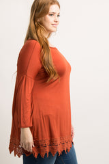 Rust Crochet Trim Plus Size Top