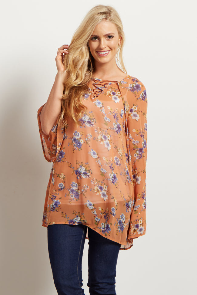 Orange Floral Lace Up Bell Sleeve Maternity Blouse