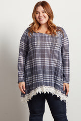 Navy Blue Plaid Crochet Trim Plus Size Knit Top