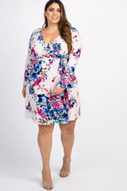 Cream Floral Sash Tie Plus Wrap Dress