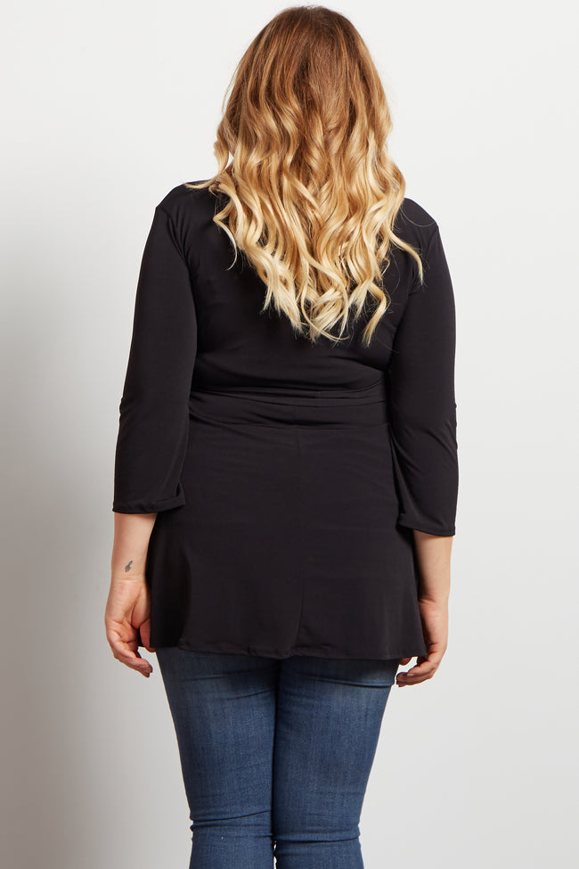 Black Solid Wrap 3/4 Sleeve Maternity Plus Blouse