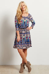 Navy Blue Abstract Tribal Belted Maternity Dress