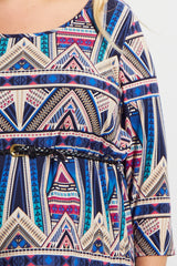 Navy Blue Abstract Tribal Belted Plus Size Maternity Dress