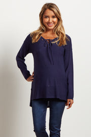 Navy Blue Lace Up Knit Maternity Sweater