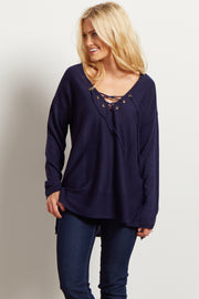 Navy Blue Lace Up Ribbed Knit Sweater