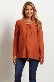 Rust Lace Up Ribbed Knit Maternity Sweater
