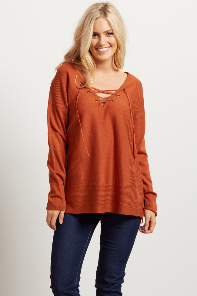 Rust Lace Up Ribbed Knit Sweater