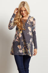 Navy Blue Floral Lace Up Maternity Sweater