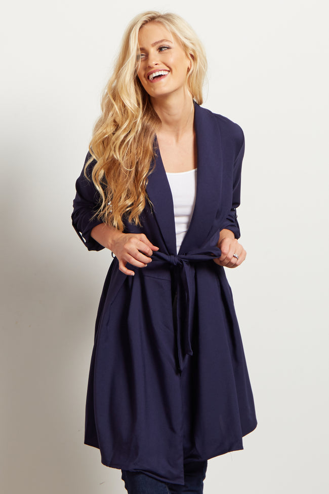 Navy Blue Sash Tie Trench Coat
