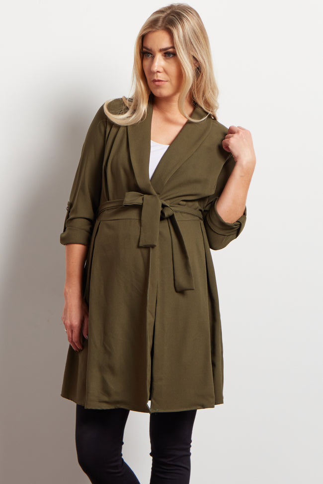 Olive Green Pleated Waist Sash Tie Maternity Trench Cardigan