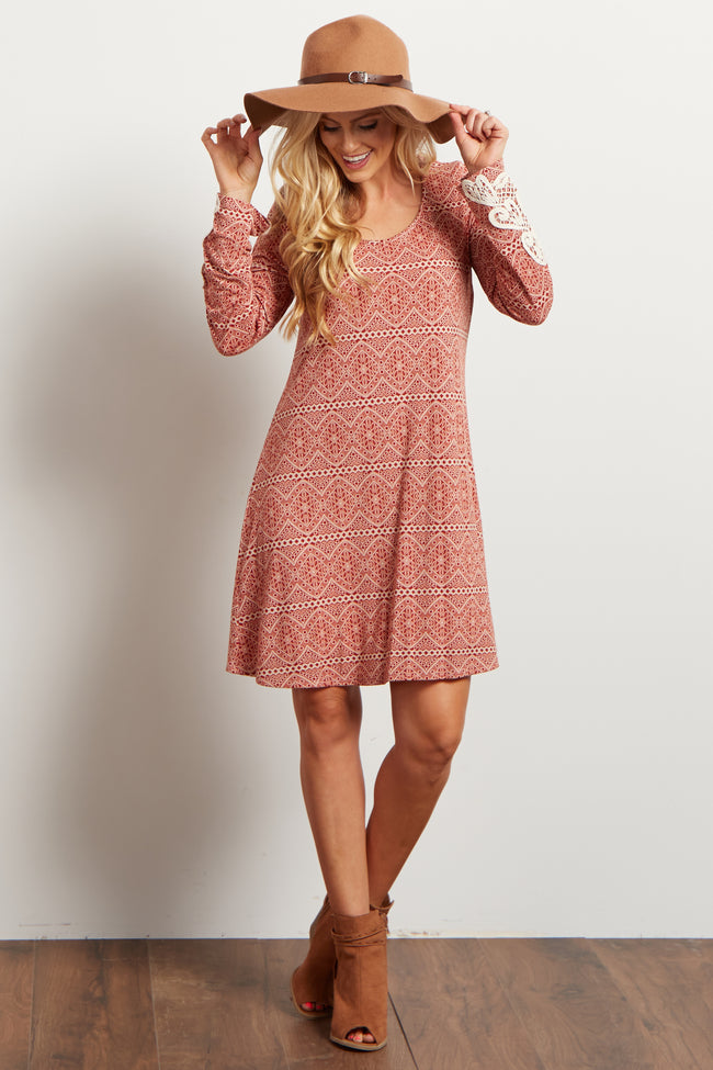 Rust Printed Crochet Sleeve Open Back Dress