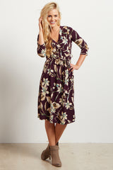 Burgundy Floral Sash Tie Wrap Dress