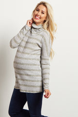Olive Striped Cowl Neck Ribbed Maternity Top