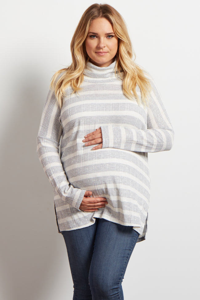 Grey Striped Cowl Neck Ribbed Maternity Plus Top