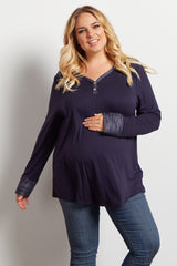 Navy Blue Solid Heathered Detail Maternity Plus Top
