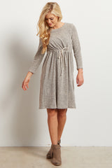 Beige Heathered Cinched Waist Knit Maternity Dress