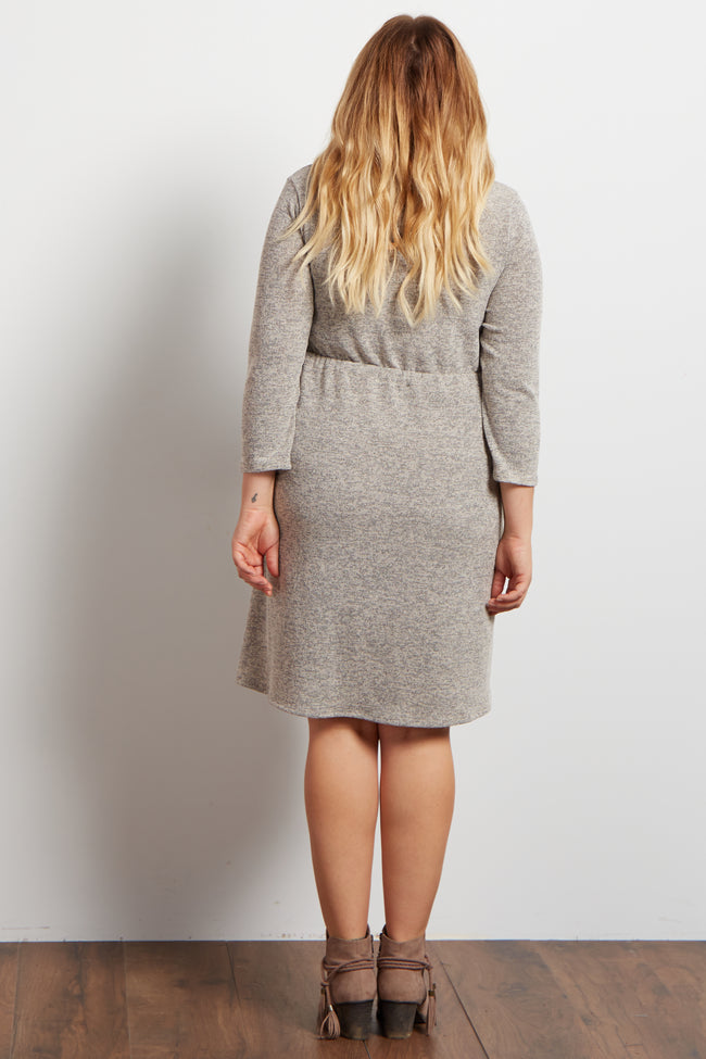 Beige Heathered Cinch Waist Knit Maternity Plus Dress