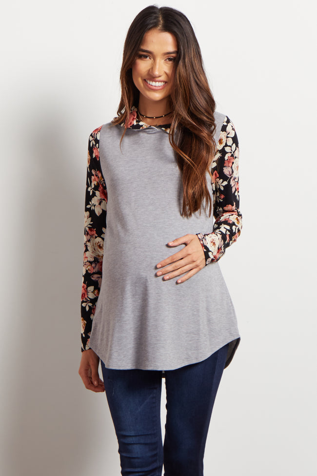 Grey Floral Sleeve Hooded Maternity Top