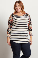 Ivory Floral Striped Colorblock Plus Top