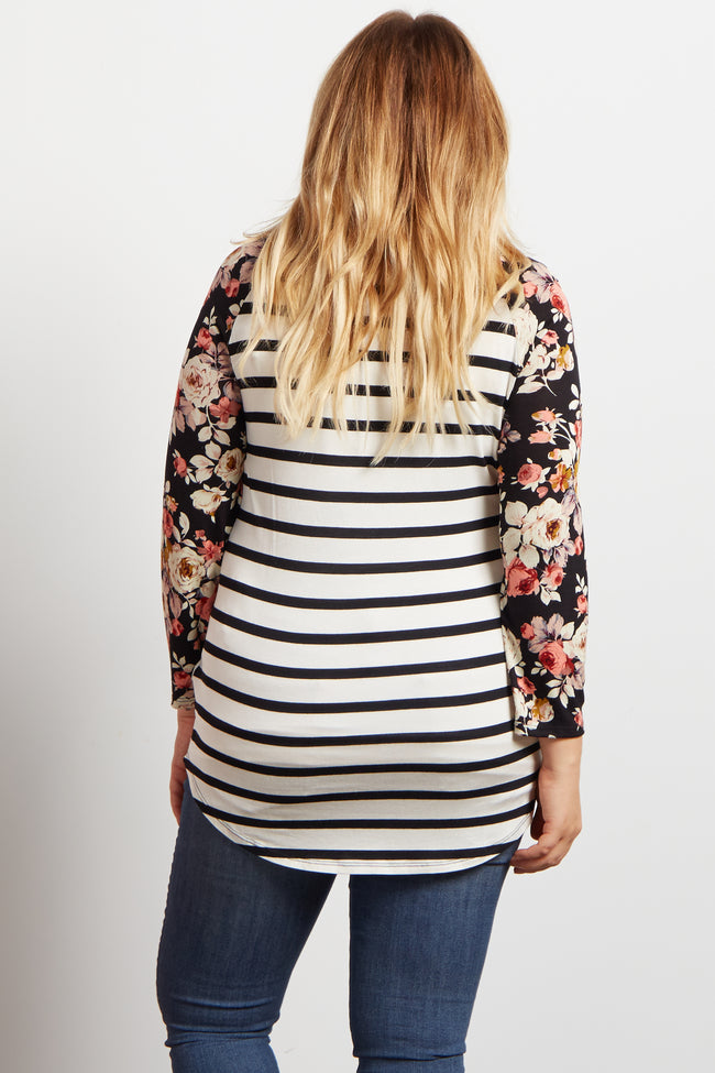 Ivory Floral Striped Colorblock Maternity Plus Top