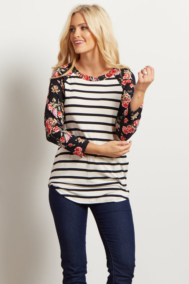 Ivory Floral Striped Colorblock Top