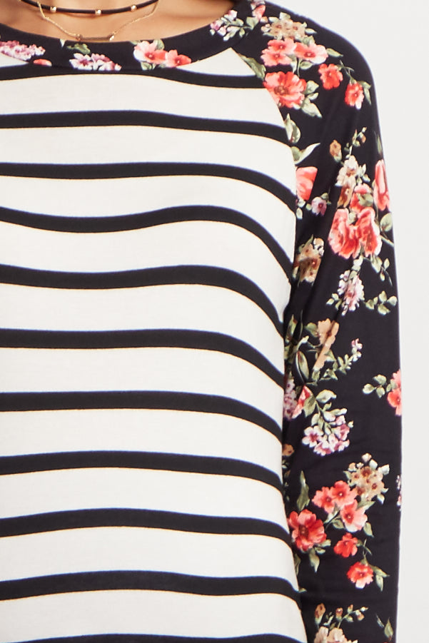 Ivory Floral Striped Colorblock Maternity Top