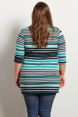 Jade Alternating Striped Fitted Plus Maternity Top