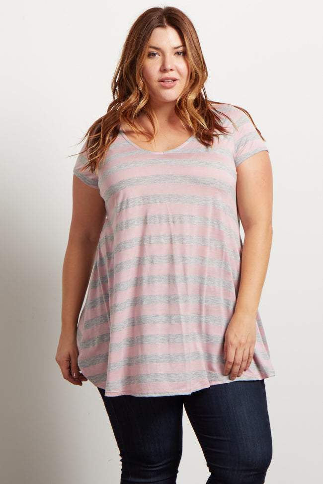 Pink Grey Wide Striped Plus Top