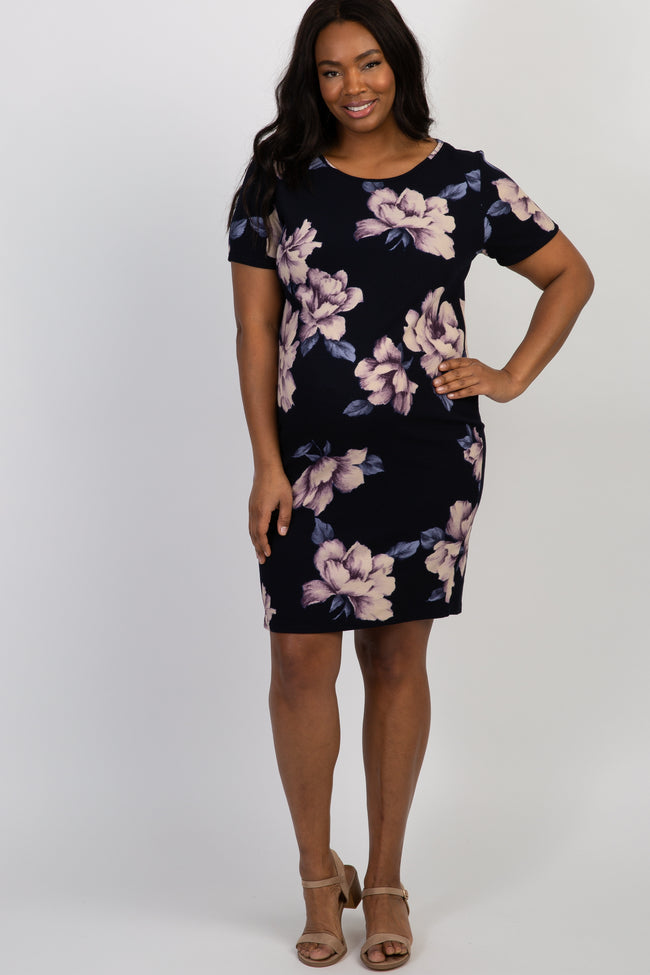 Navy Watercolor Floral Fitted Plus Maternity Dress