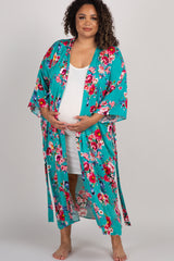 Jade Floral Delivery/Nursing Long Maternity Plus Robe