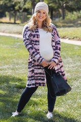 Pink Tie Dye Striped Oversized Maternity Plus Cardigan