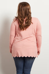 Pink Scalloped Long Sleeve Maternity Plus Top
