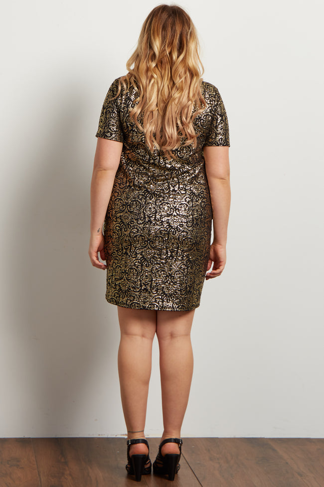 Black Gold Metallic Plus Maternity Mini Dress
