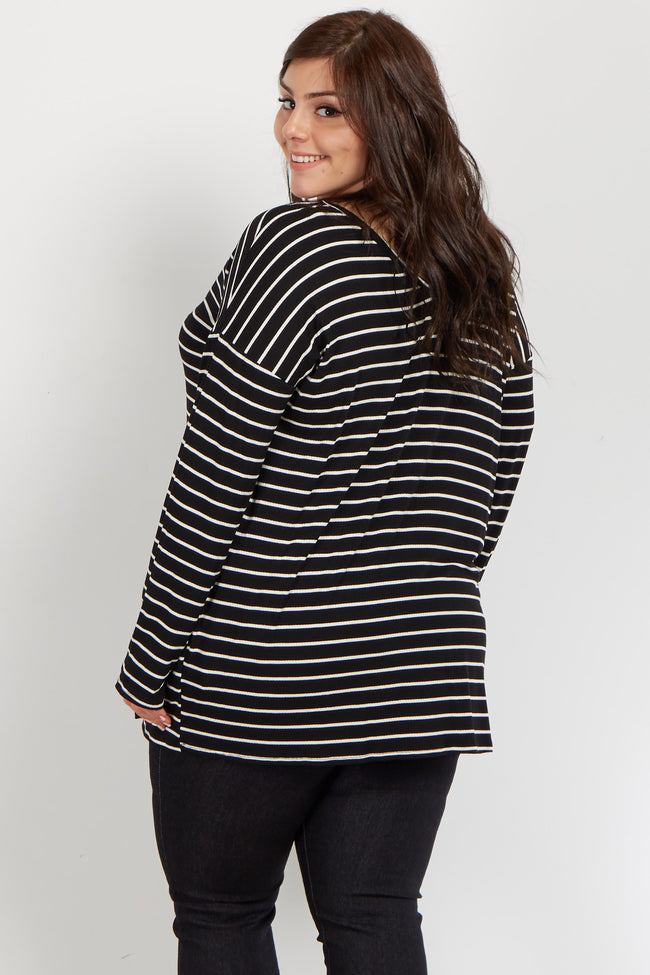 Black Striped V Neck Long Sleeve Maternity Plus Top