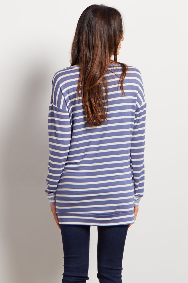 Blue Striped Front Pocket Maternity Sweater