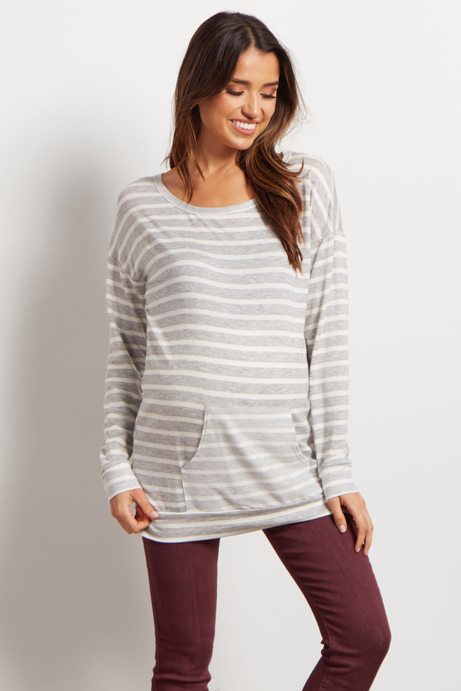 Grey Striped Front Pocket Knit Maternity Sweater