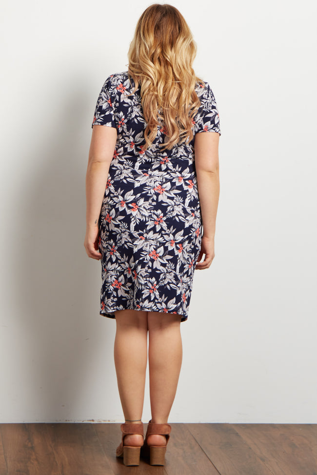 Navy Tropical Floral Fitted Maternity Plus Dress