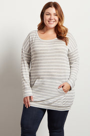 Grey Striped Front Pocket Plus Knit Sweater