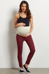 Burgundy Basic Ankle Cut Maternity Skinny Jeans