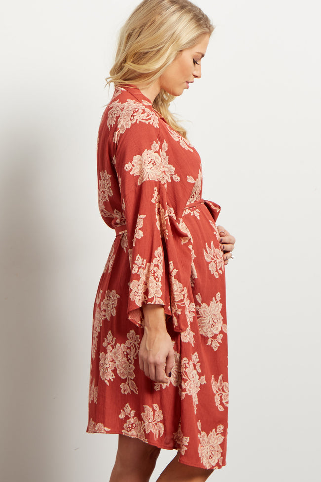 Rust Antique Floral Delivery/Nursing Maternity Robe